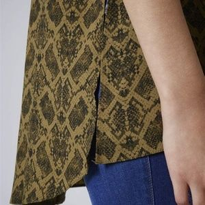 Topshop Snake Print High Neck Tunic in Natural 2